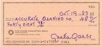 A cheque by Garbo